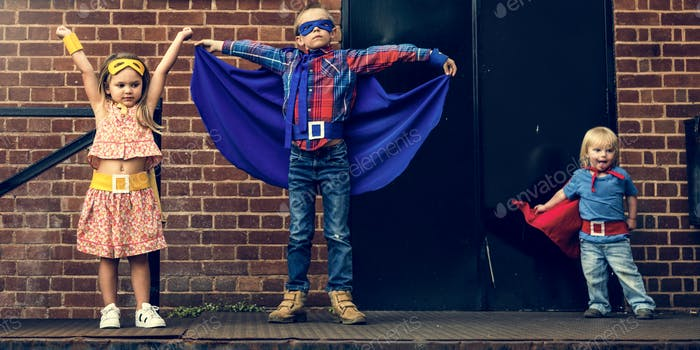 Superheroes Kids Friends Brave Adorable Concept