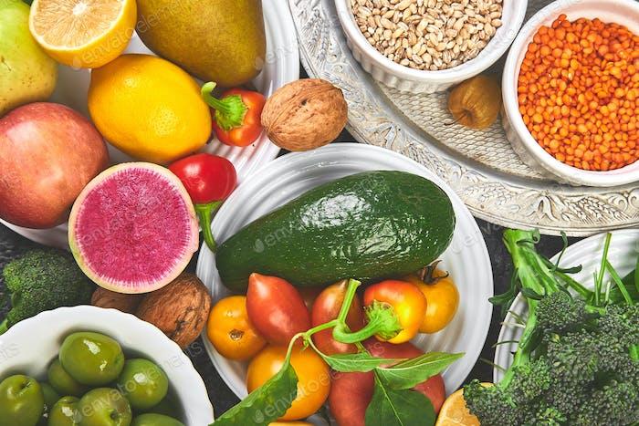 Alkaline diet food, Clean eating. Healthy vegetarian seasonal, fall food cooking background.