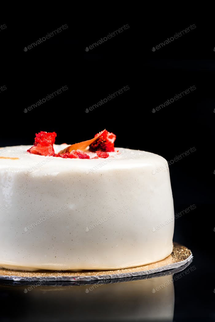 Artisan Monoportion Patisserie Dessert Cake on Black Reflective