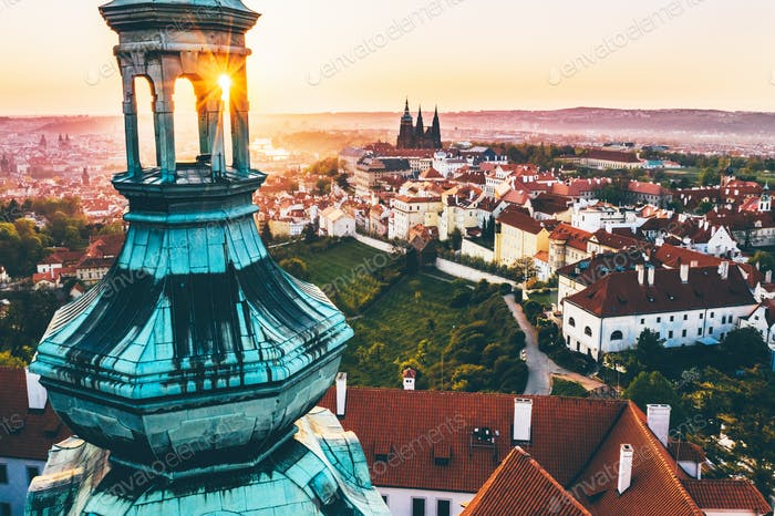 Aerial panorama of the Old Town, Prague, Czech Republic. Strahov monastery, Prague Castle.