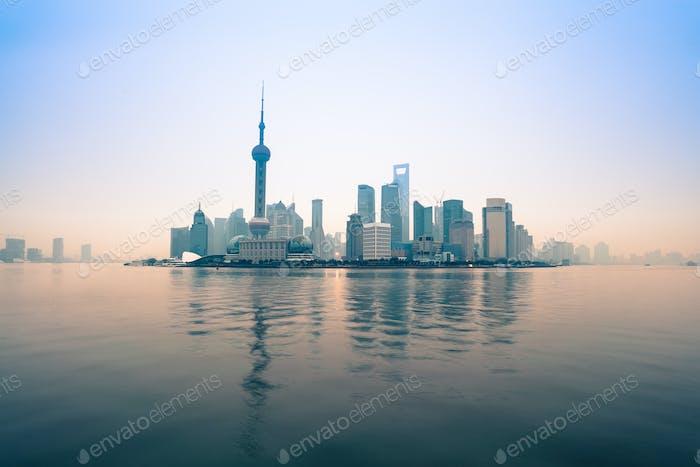 dawn panorama of shanghai