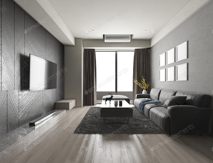 3d rendering luxury and modern living room with fabric sofa