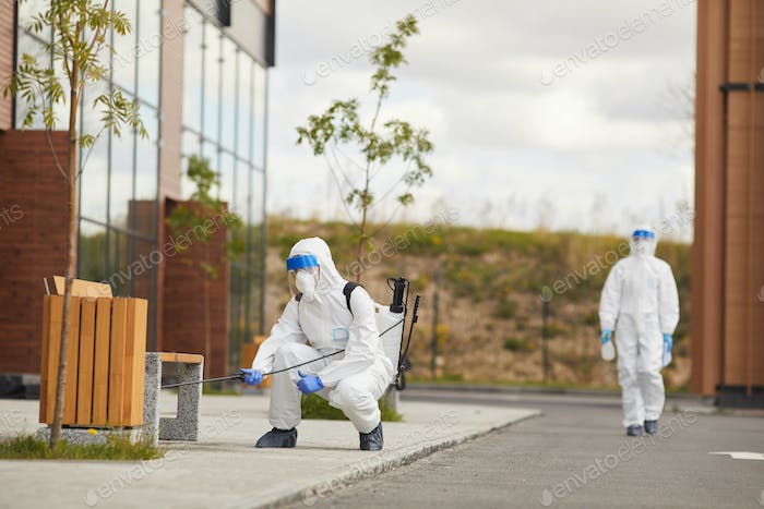 Disinfection Workers in Street