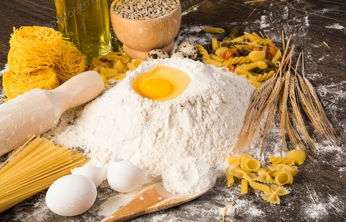 flour, eggs, wheat still-life