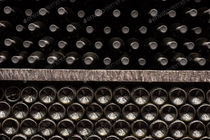texture of wall made of wine bottles