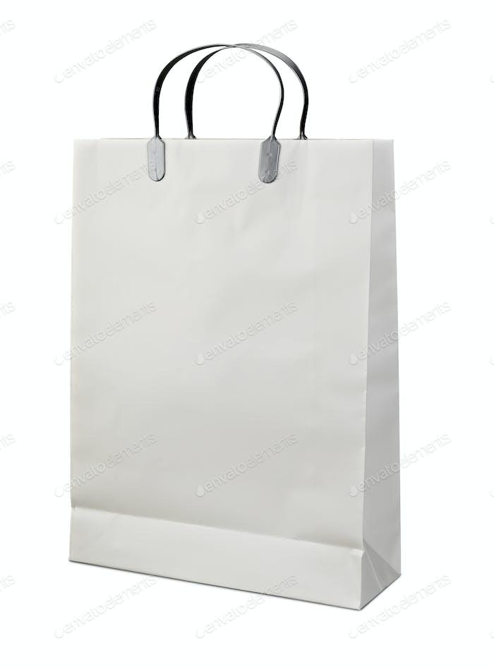 Weiße Einkaufstasche Nahaufnahme