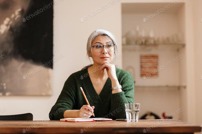 Amazing pretty mature beautiful grey-haired woman