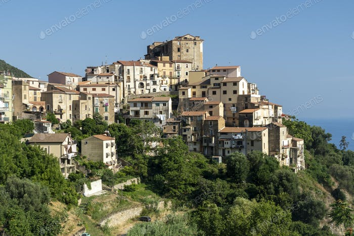 Panoramic view of Pisciotta, Southern Italy
