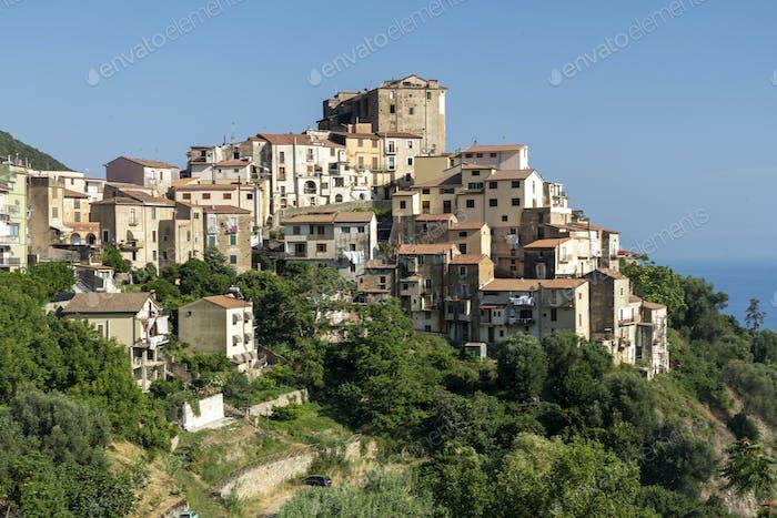Panoramablick auf Pisciotta, Süditalien