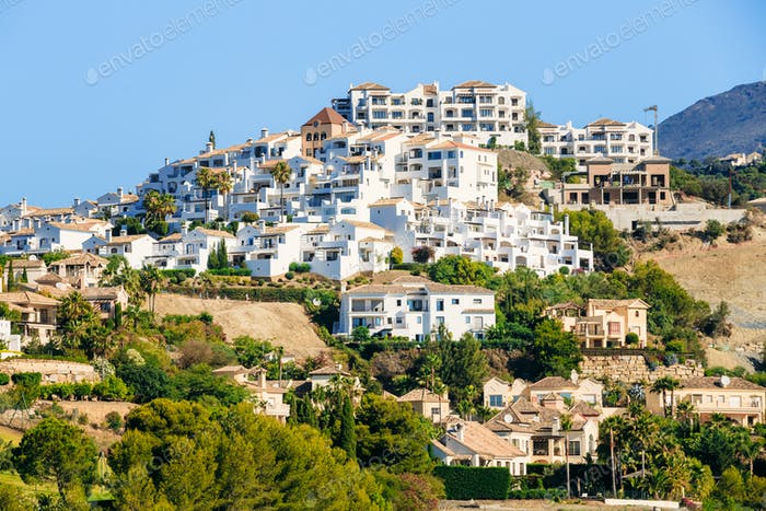 Village With White Houses In Benahavis, Malaga, Andalusia, Spain