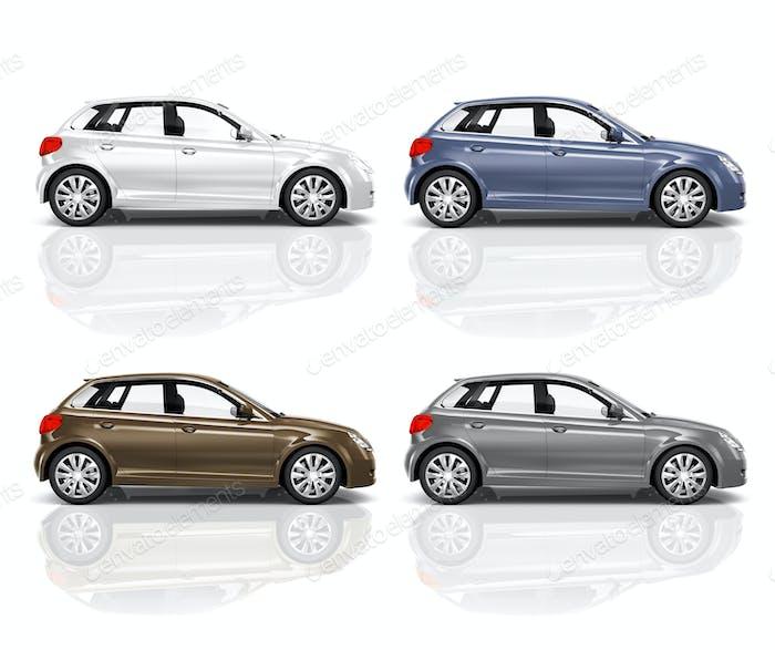 Set of 3D Hatchback Car