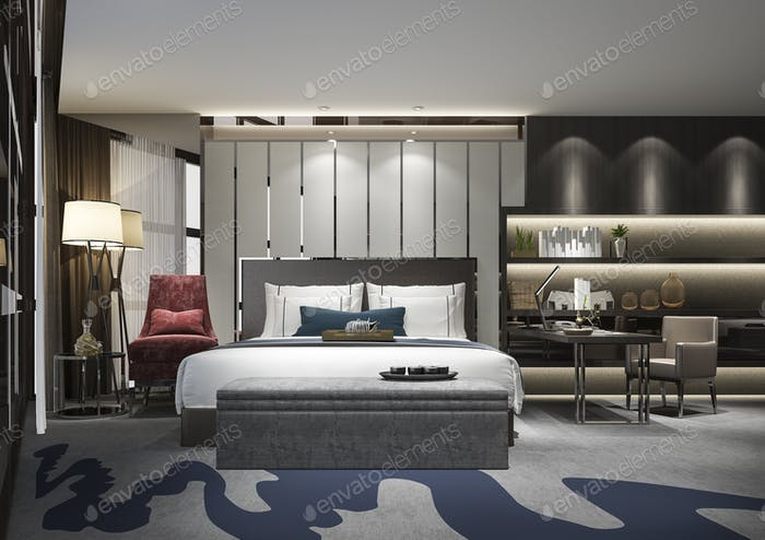 3d rendering beautiful luxury bedroom suite in hotel with tv and working table and shelf