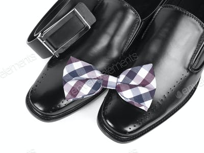 Black male shoes, bow tie and belt