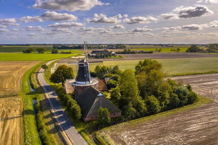 Aerial view of dutch countryside hamlet