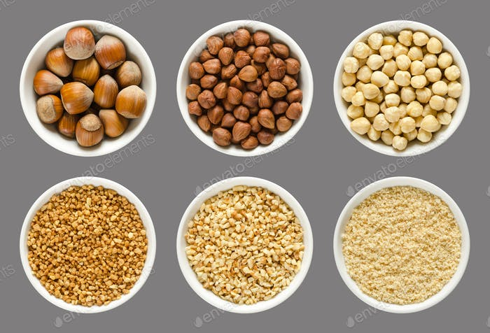 Hazelnuts, whole and processed nuts in white bowls