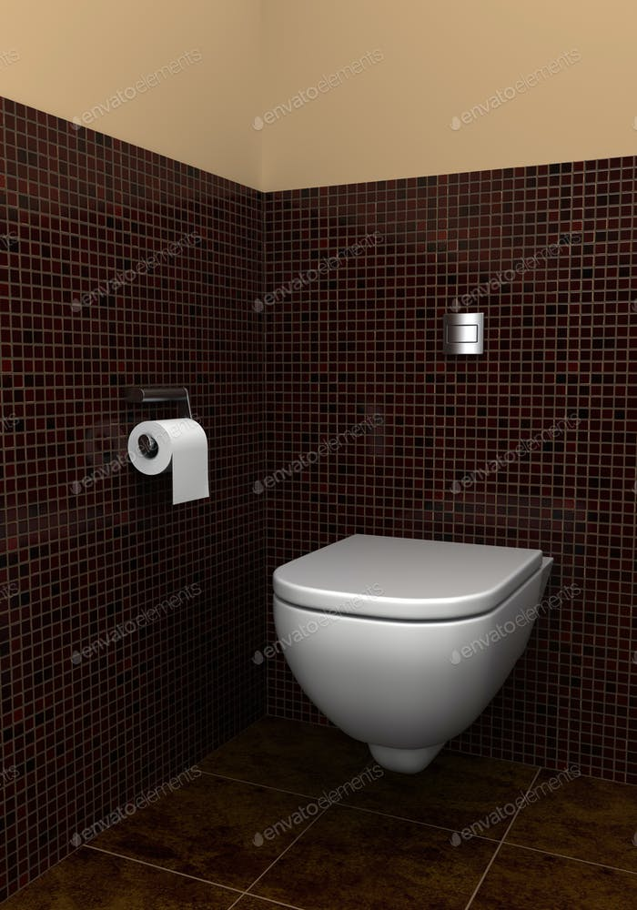 modern toilet with brown tiles on wall and floor