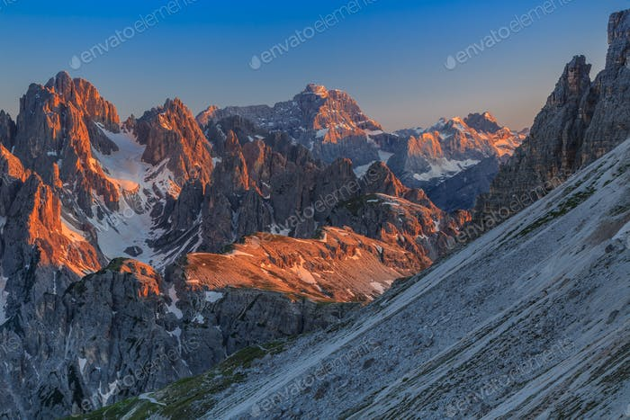 Mountains under sunset light