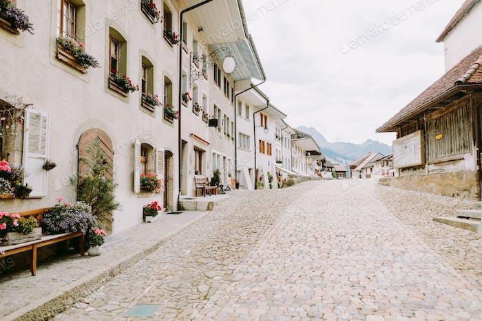 cozy old town street in SWitzerland