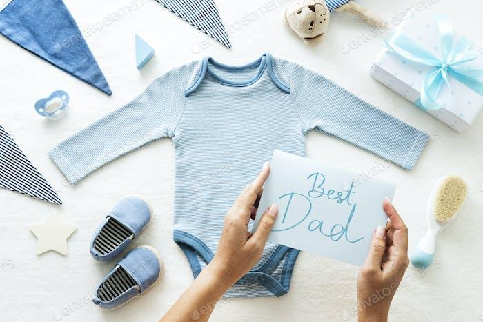 Tarjeta para el mejor padre con tema de Bebé shower.