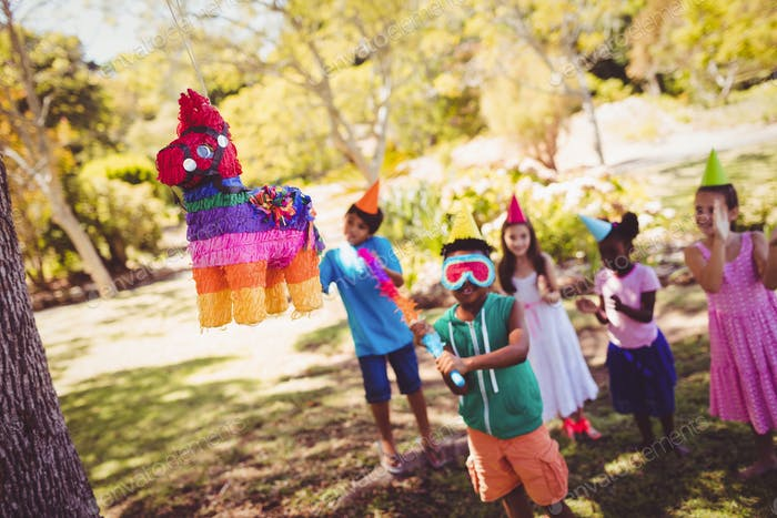 Little boy is going to broke a pinata for his birthday