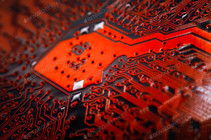 Bokeh electronic circuit close up computer. Selective focus