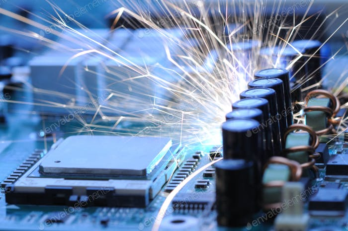 Burning sparks fly from the controller equipment