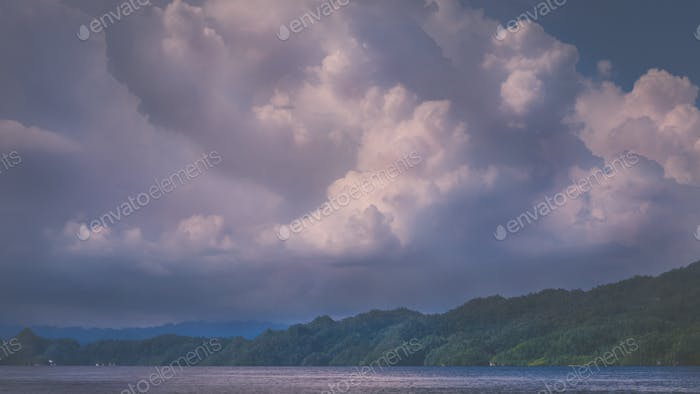 Clouds above Kabui Bay near Waigeo before Thunderstorm. West Papuan, Raja Ampat, Indonesia