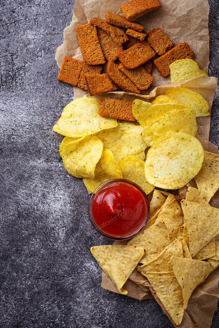 Potato chips and Mexican corn nachos