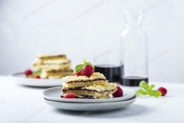 Homemade shortcrust pastry cake