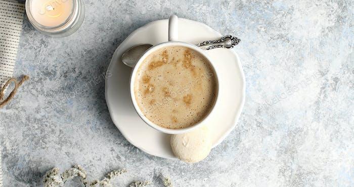 Top view of mug with coffee