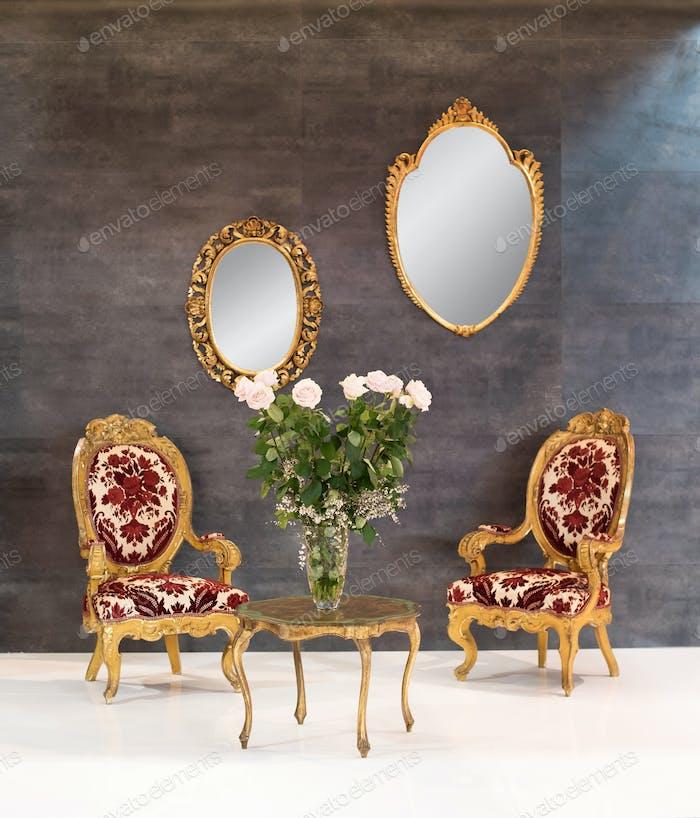 Elegant retro or vintage style interior decor