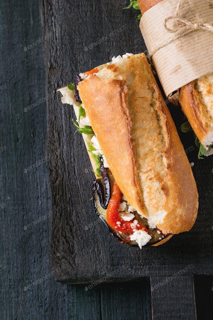 Vegetarisches Baguette-Sandwich