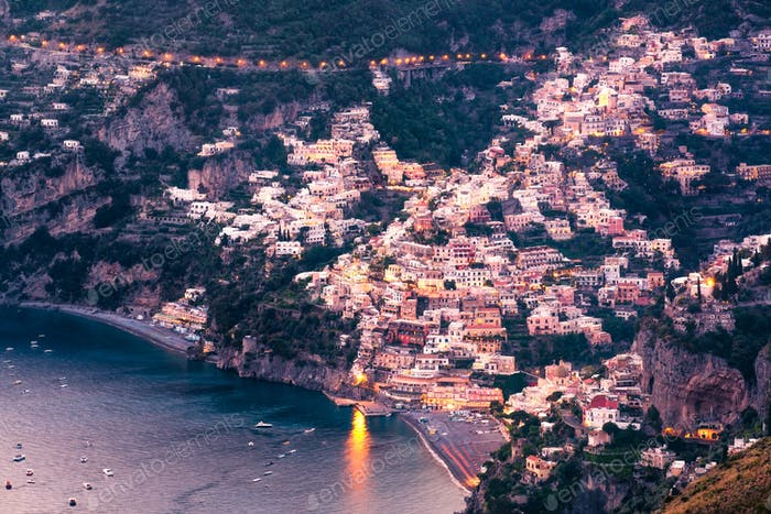 Scenic view of Positano town after sunset, Amalfi coast, Italy