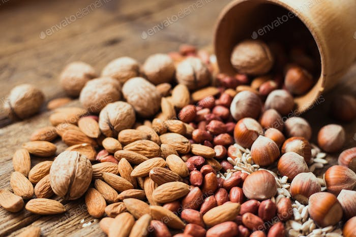 Mix of nuts Almonds, walnuts, peanuts, hazelnuts , sunflower seeds