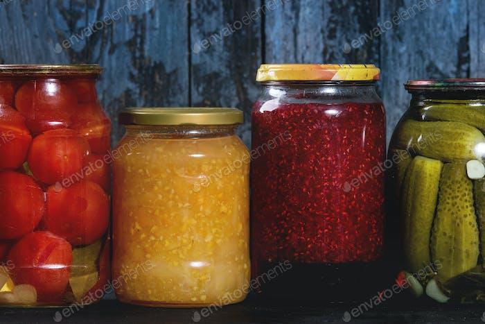 Variety of pickled vegetables