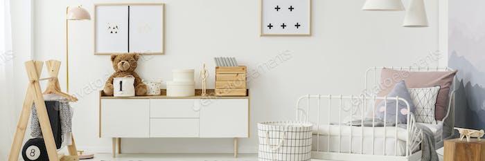 White scandi bedroom interior