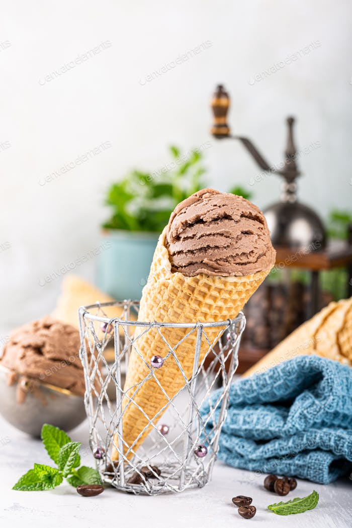 Delicious coffee ice cream for dessert