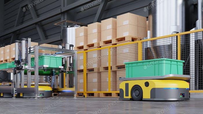 Robots efficiently sorting hundreds of parcels per hour.