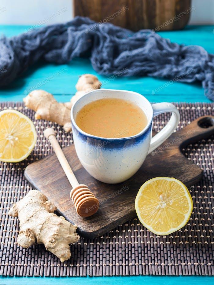 Lemon ginger hot tea drink with honey