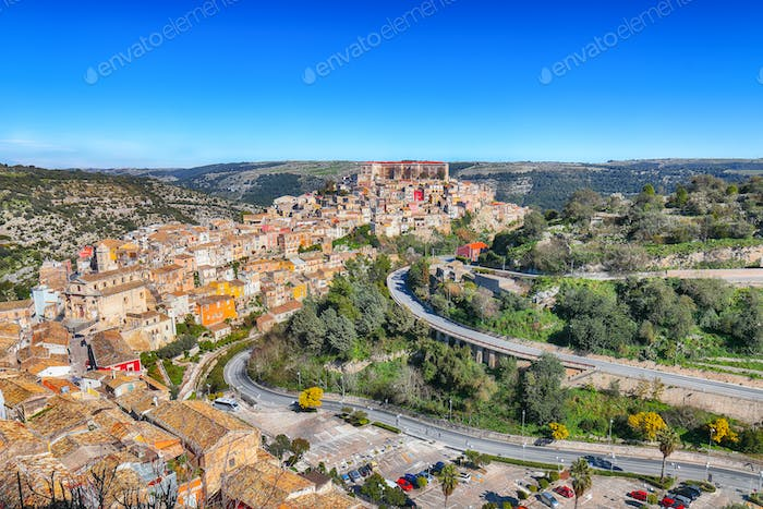 Sunrise at the old baroque town of Ragusa Ibla in Sicily