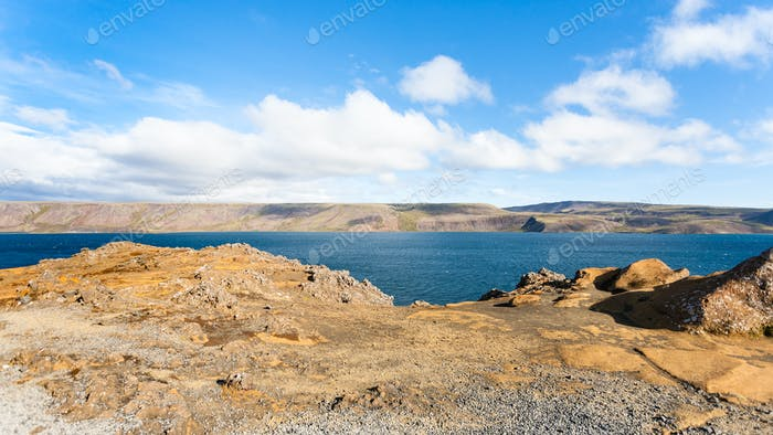 panoramic view of Kleifarvatn lake in Iceland