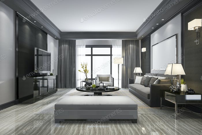 3d rendering modern living room and with shelf