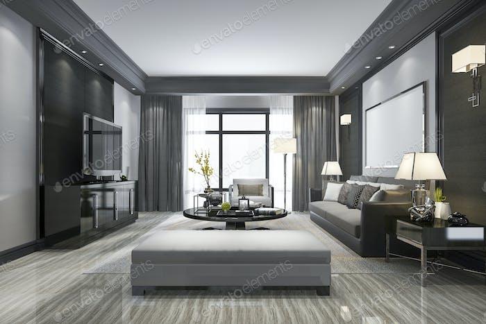 3D Rendering modernes Wohnzimmer und mit Regal