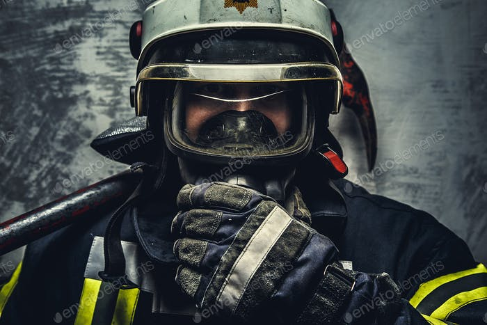 Portrait of firefighter on helmet