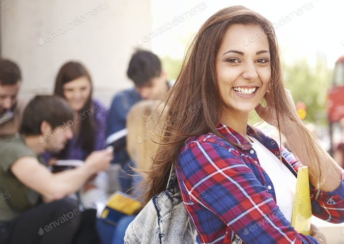 Student waiting for her classes