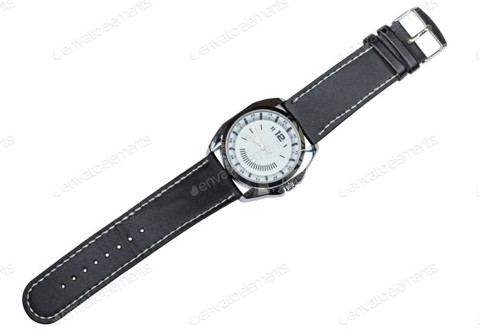 Modern luxury watch with black leather