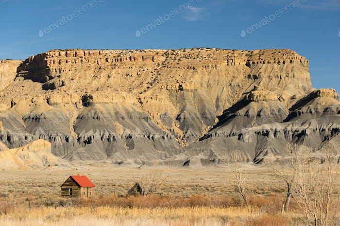 Red Roofed Cabin Utah Wilderness Badlands