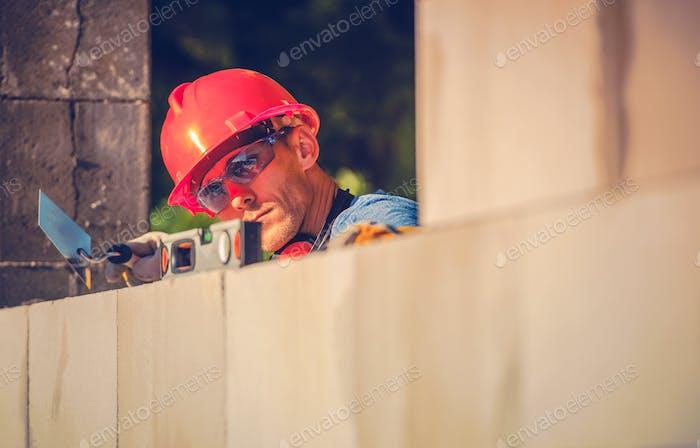 Caucasian Mason Worker