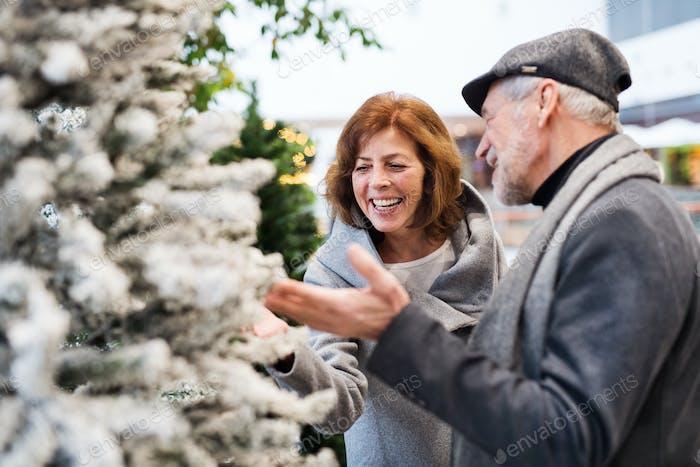 Happy senior couple doing Christmas shopping together.