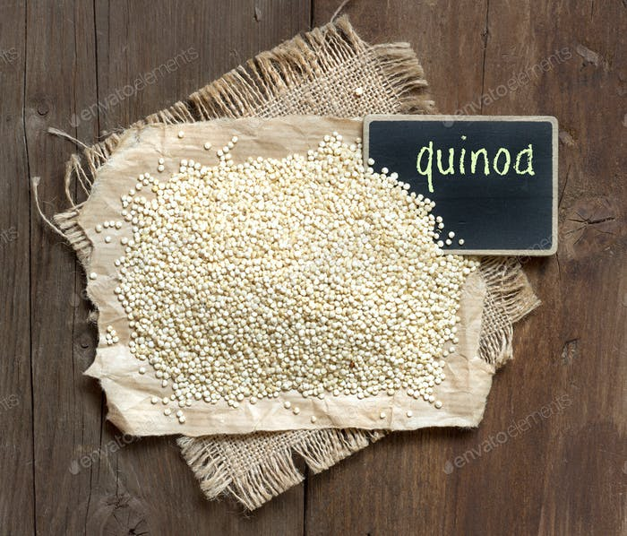 Organic quinoa with a small chalkboard